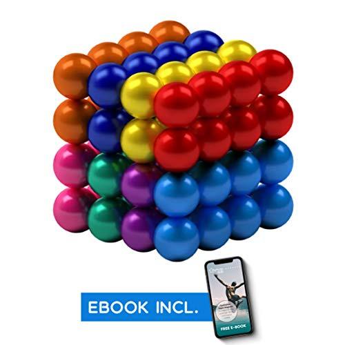 myHodo Bunte Magnetkugeln (8 Farben), vielseitige Stresskiller, extra Starke Supermagnete für Magnettafeln, Anti Stress Geschenk, Mini Magnet Balls, Office Gadget inkl. Gratis Ebook (64 Stück, 5mm)