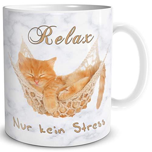 TRIOSK Tasse Katze Relax kein Stress mit Spruch lustig Katzenmotiv Geschenk Erholung Entspannung für Katzenliebhaber Frauen Freundin