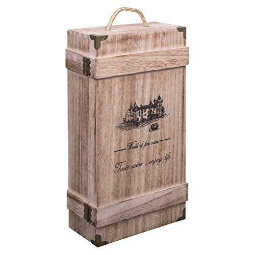 Woodluv - Caja de regalo de madera para botella de vino o champán con asa integrada