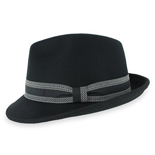 Belfry Striped Trilby Men Women Crushable Wool Felt Fedora Hat (Black, Large)