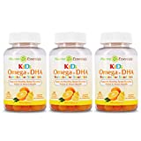 Pharma Essentials Kids Omega 3+DHA 60 Count Gummies - 3 Pack, Delicious Vegetarian, Gelatin-Free, Supports Healthy Brain Function, Vision, and Heart, Made in USA