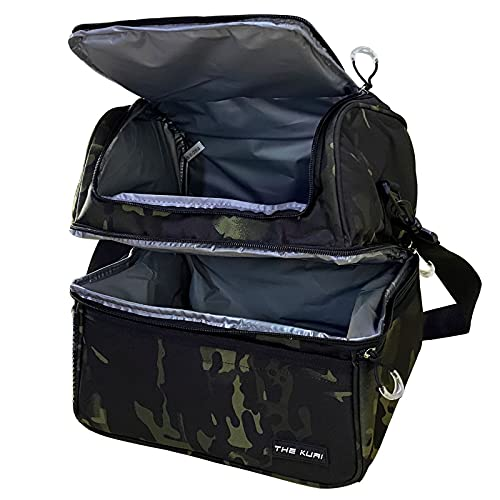 IGOGI Double Deck Lunch Bag For Men Women Adult Insulated Lunch Box Large Waterproof Cooler Insulated Tote Bag (Camo Green)