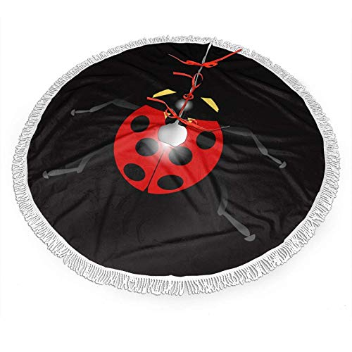 wonzhrui Christmas Tree Skirt,Cartoon Ladybug Printed Tree Skirt with Tassel for Xmas Decor Festive Holiday Decoration,Christmas Decoration New Year Party Supply (36 Inch)