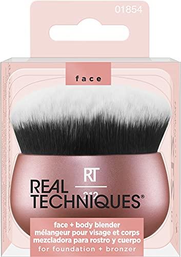 Real Techniques Pincel de maquiagem para rosto e corpo, bolsa de maquiagem essencial para base e bronzeador