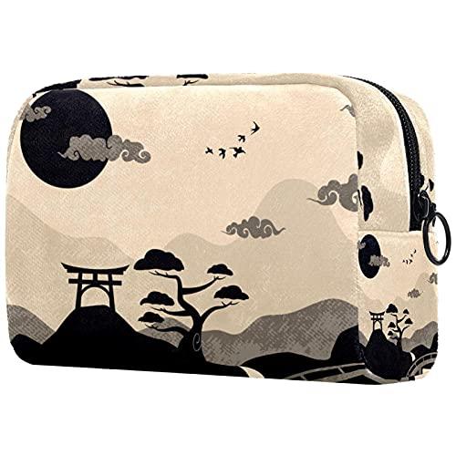 Neceser de Viaje Neceser Maquillaje Grande Bolsas de Aseo Cosméticos Organizador Accesorios de Baño Neceser Viajes Vacaciones de Negocios Paisaje de Japón Vintage 18.5x7.5x13cm