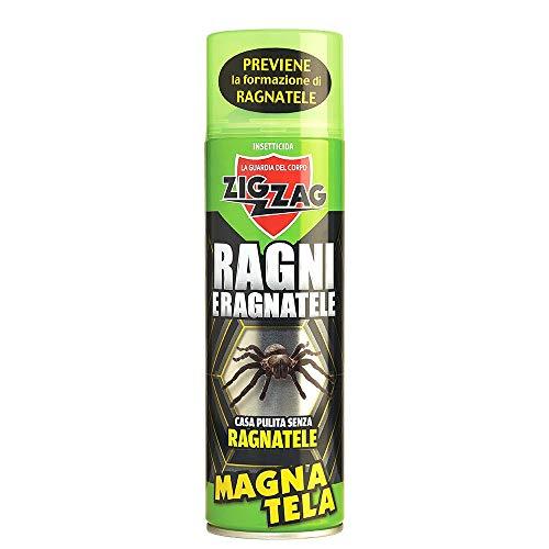 ZigZag Ebano Magna Tela Spray 500ml Insetticida per ragni e ragnatele Impedisce la formazione ed elimina quelle esistenti. Utilizzato da ristoranti, pub, casa, ufficio e per chi ha la fobia dei ragni