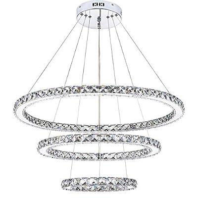 KROSON Crystal Chandelier Modern Led Chandelier Dining Room and Bedroom Chandelier Foyer Lighting Adjustable Ceiling Pendant Lighting Cool White 3 Rings Chandeliers