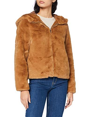 Vero Moda Vmthea Hoody Short Faux Fur Jacket Boos Chaqueta, marrón, S para Mujer