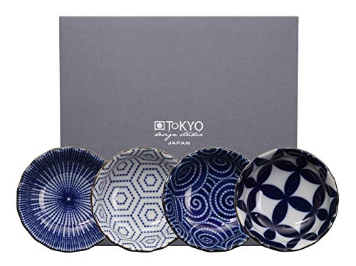TOKYO design studio Kotobuki 4-er Dip-Schalen-Set blau-weiß, Ø 9,3 cm, asiatisches Porzellan, Japanisches Design mit geometrischen Mustern, inkl. Geschenk-Verpackung