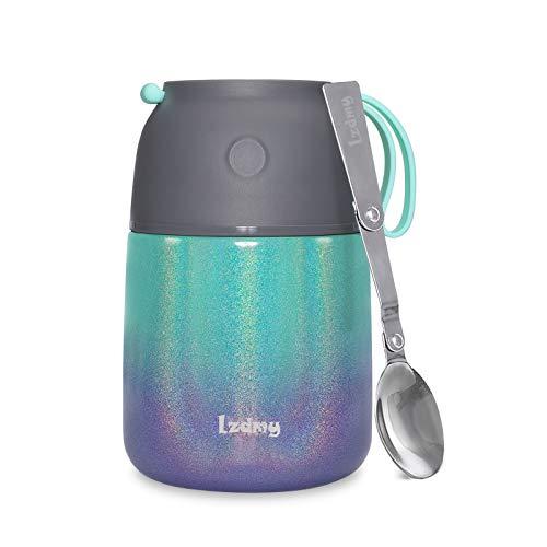 Thermobehälter für Essen, Lunchbox für Kinder/Erwachsene, Suppe Speisebehälter mit Faltbarem Löffel für Schule Büro Freien (Gradient, 500 ML)
