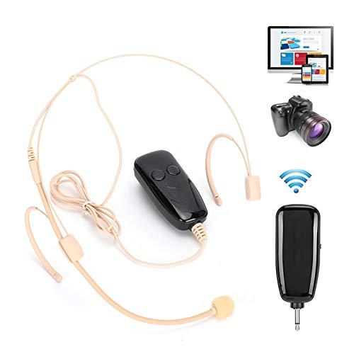 Microfone de lapela com clipe traseiro ajustável e estilo oculto, microfone com fone de ouvido, antirreferência de orelha dupla para ensino de fala(U12B)