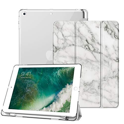 Fintie Hülle mit Pencil Halter für iPad 9.7 Zoll 2018 - Ultradünn Superleicht Schutzhülle mit transparenter Rückseite Abdeckung Cover mit Auto Schlaf/Wach für iPad 6. Generation, Marmor Weiß