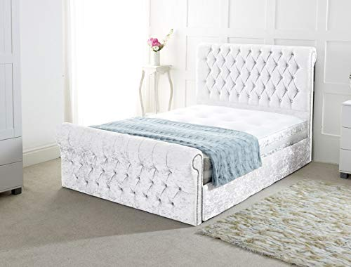 Chesterfield Sleigh Bed In Crushed Velvet |Bed Frame Only (4FT Small Double, White)