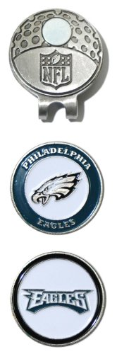 Team Golf NFL Philadelphia Eagles Golf Cap Clip with 2 Removable Double-Sided Enamel Magnetic Ball Markers, Attaches Easily to Hats,Multi