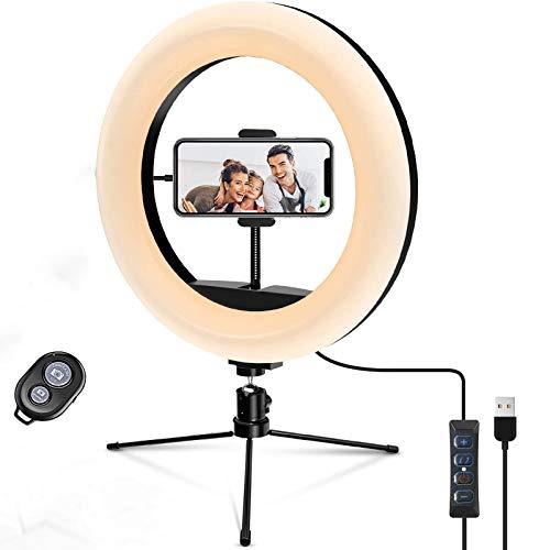 """Ring Light 10.2"""" LED Ring Light Treppiede Foto Video LED Lighting Kit LED Temperatura di colore regolabile 2700K-5500K, 10 livelli di luminosità per ritratto YouTube Video, Vlog, Trucco"""