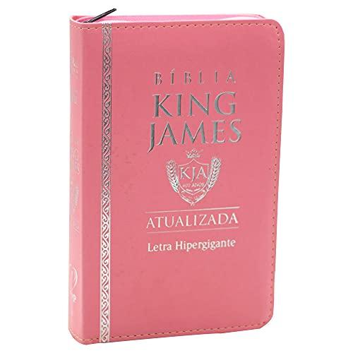Bíblia King James Atualizada   Bkja   Zíper   Letra Hipergigante   Capa Pu Rosa