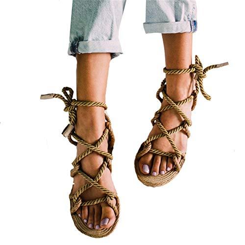 Reuvv Roma Stagger sandalias de cuerda de cáñamo para mujer, zapatos de playa para verano, marrón, 38