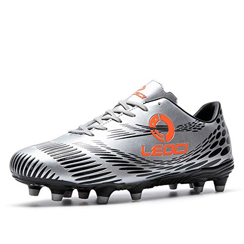 LEOCI Soccer Shoes Men - Performance Outdoor Soccer Shoes for Kids Soccer Cleat (3 D(M) US, Silvery & Black)