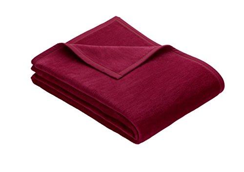 Ibena Kuscheldecke XL Porto 3560 / Tagesdecke rot/Wolldecke 180x220cm / besonders flauschig weich & angenehm warm, Baumwollmischung in hervorragender Qualität in vielen Größen erhältlich