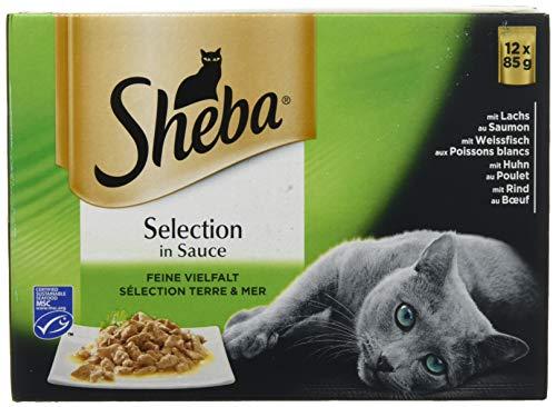 Sheba Selection in saus, kattenvoer in saus voor volwassen katten, kattenvoeding in schaal of zak, verschillende soorten, 48 x 85g