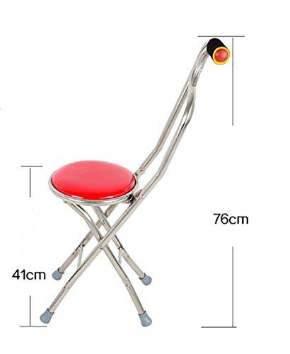 G&M Folding Travel Cane Walking Stick Seat Camp Stool Chair hiking stick cane , red