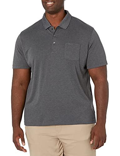 Amazon Essentials - Polo de manga corta ajustado y con bolsillo para hombre, Carbón Heather, US S (EU S)