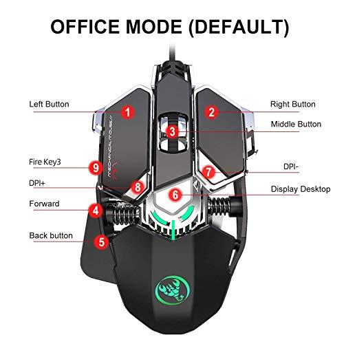 Bradoner Einhändig Mechanical Gaming Keyboard Und Programmierbare Maus Kombiniert, USB Verdrahtete Spiel-Tastatur Und LED Backlit-Maus for LOL/PUBG/Wow/Dota/OW (Color : Black)