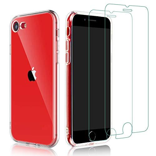 Habett Custodia per iPhone SE 2020 Cover + 2 Pz Pellicola Vetro Temperato, Trasparente Cover per iPhone SE 2020 / iPhone 8 / iPhone 7 Sottile Silicone Gel TPU Case per iPhone SE 2020/8/7, HD Chiaro
