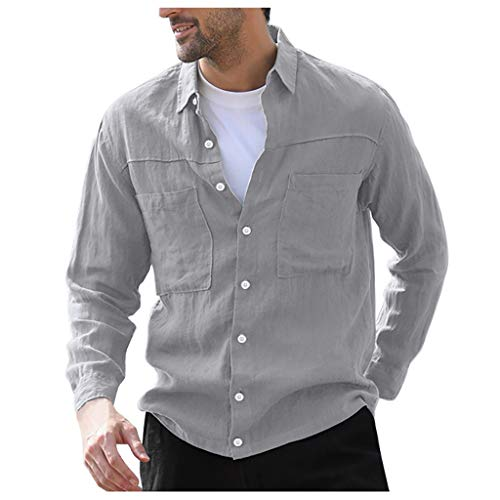 Yowablo Herren Slim Shirt Freizeithemd Hemden Tops Bluse Vintage Pure Color Button Leinen Solid Langarm Retro (3XL,Grau)