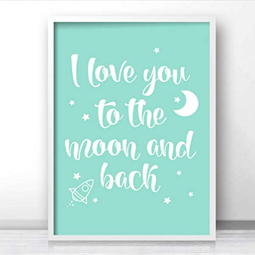 SDFSD Dibujos Animados Whale Mint Green I Love You to The Moon and Back Nursery Decor Canvas Painting Posters and Prints Wall Art for Kids Room 40 * 50cm