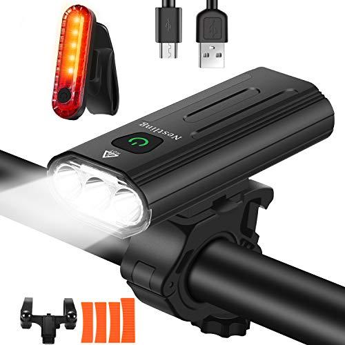 Nestling® Luci Bicicletta LED Ricaricabili USB, Luce 3000 Lumen 3 T6 LEDs Bici Super Luminoso 5200mAh IPX6 Impermeabile Luci Bici Anteriori e Posteriori, Super Luminoso 5 modalità