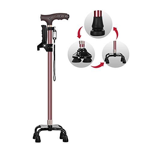 XJZHAN Tragbarer, höhenverstellbarer Spazierstockgriff mit 3 rutschfesten Füßen als Gehhilfe