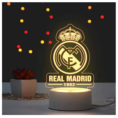 ANLW Real-Madrid Led-Nachtlicht mit USB-Ladekabel, Noten-Lampe für Erwachsene oder Kinder Beste Birthdaygift
