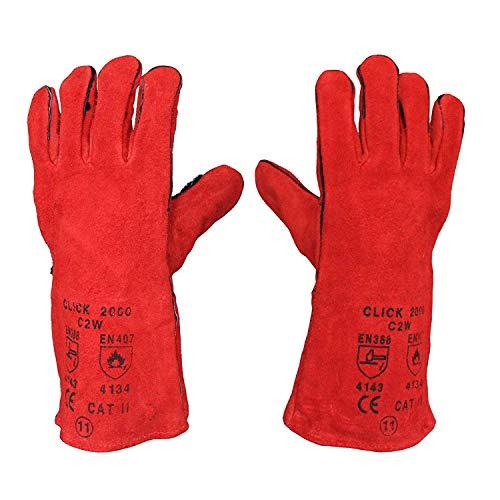 Schweißerhandschuhe, lang, aus Leder, hitzebeständig und gefüttert, MIG ARC Welders / Schweißer