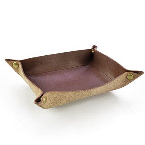 日本製 卓上トレイ 最高級の皮革製 栃木レザーデスクトレー 本革 小物入れ レザートレイ (ブラウン)