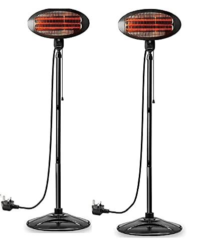 Ram® 2KW Patio Heater Freestanding Electric Quartz Outdoor Standing Waterproof Garden Lawn Patio Heater Set Of 2