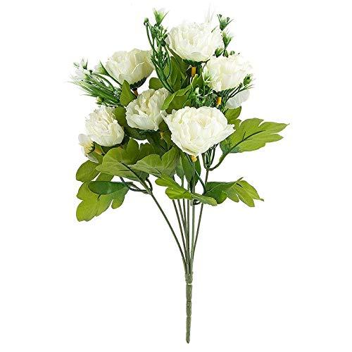 Ideen mit Herz Künstliches Blumenarrangement | Blumenstrauß | Blütenbusch | Verschiedene Blumen und Farben | Deko-Blüten mit langem Stiel | Blüten Ø ca. 3-6 cm (Nelken | 31 cm | weiß/grün)