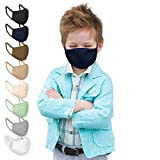 Jago® Gesichtsmaske für Kinder – 10er Pack, 3-8 Jahren, Reine Baumwolle, doppellagig, Atmungsaktiv, Filterfach, Farbwahl – Stoffmasken, Mund- Nasenschutz, Gesichtsschutz (Dunkelblau)