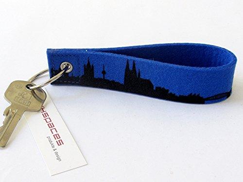 44spaces Schlüsselanhänger Köln Loop Blau - Feiner Wollfilz Fingernagelfreundlicher Verschluß - Kleines Dankeschön Gastgeschenk Einladung Richtfest Homeoffice