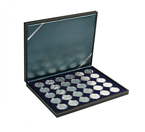 Münzkassette NERA M mit dunkelblauer Münzeinlage mit 30 runden Vertiefungen für Münzkapseln mit Außen-Ø 39,5 mm, z.B. für deutsche 20 Euro-/10 Euro-Silbermünzen in LINDNER Münzkapseln