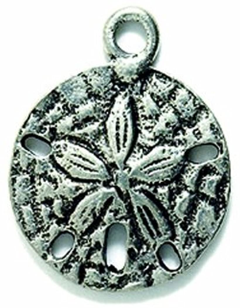 Shipwreck Beads Pewter Sand Dollar Charm, 16 by 20mm, Silver, 4-Piece