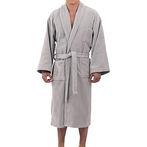 Alpine Swiss Aiden Mens Cotton Terry Cloth Bathrobe Shawl Collar Velour Spa Robe Gry ML Gray