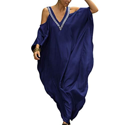 Caftán para Mujer Vestido para Playa Largo de Verano Cuello V Cover Up para Bikini Color Sólido (Azul, Talla única)