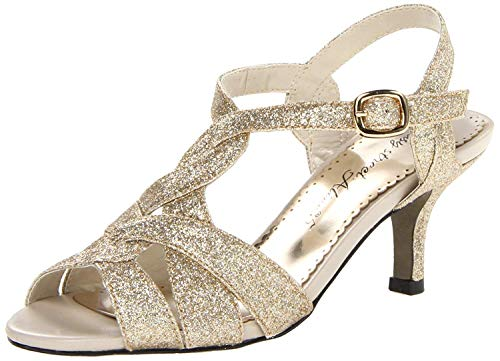 Easy Street Women's Glamorous Evening Sandal, Gold Glitter - 9 X-Wide