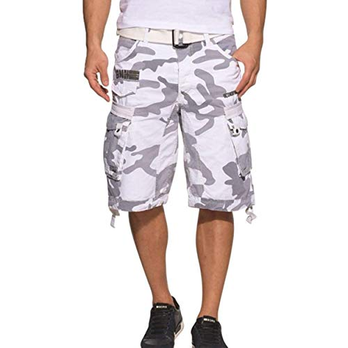 Geographical Norway PANORAMIQUE MEN - Bermudas Short Algodón Fit - Pantalones Cortos Deportivos Para Hombres - Bermudas Hombre - Shorts Cortos Cinturón - Bermuda Ajuste Normal Cómodo CAMO BLANCO L