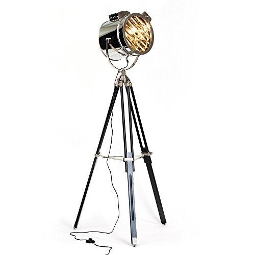 Exklusive Stehleuchte im Industrie Design, Stativ mit Holzbeinen, H 175 cm, Ø Schirm 45 cm, 1x E27 max. 60W, Metall/Glas, schwarz/chrom