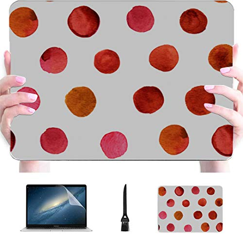 MacBook Cover Big Circles and Dots of Red Color Plastic Hard Shell Compatible Mac Air 13' Pro 13'/16' Laptop Pro Accessories Protective Cover for MacBook 2016-2020 Version