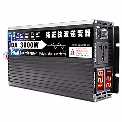 SJZD Inversor Inteligente de Onda sinusoidal Pura, 12V / 24V / 48V / 60V a 220V, 3000W-8000W Opcional, Alta Potencia para Viajes al Aire Libre en vehículos recreativos, 3000W-24V