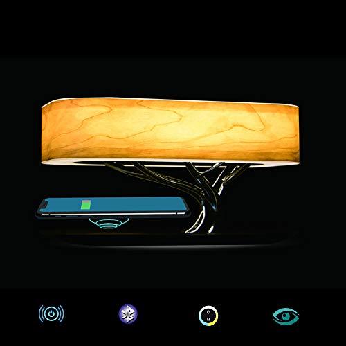 Nachttischlampe Mit Bluetooth-Lautsprecher, Touch Dimmbar(Farbtemperatur Und Helligkeit),Nachttischleuchte Mit Schlafmodus + Wireless Charger, Designer Tischlampe, LED – Tischlampe, Deko Schlafzimmer