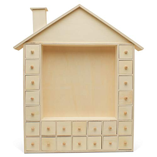 Wooden Advent Calendar Empty DIY-Pre Assembled Empty Drawers Refillable Unfinished 16 Inch by 13 Inch, by Woodpeckers